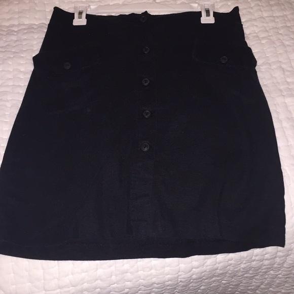 Maternal America Dresses & Skirts - Maternity Black linen button down skirt
